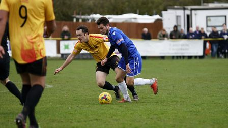 Lowestoft's Dylan Williams in possession during the Blues' 4-2 defeat against Alvechruch. Picture: S