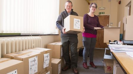 Volunteers Andy Adams and Mandy Holcombe inside the new home for Lowestoft foodbank.Picture: Nick Bu