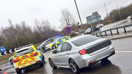 Norfolk police stopped a BMW at the Thickthorn roundabout at about 2pm on Tuesday, March 12 and foun