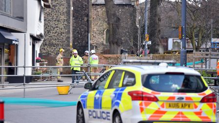 Westlegate Tower in Norwich has been damaged by strong winds. PICTURE: Jamie Honeywood