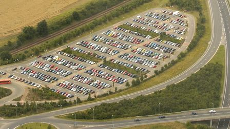 Aerial view of Postwick park and ride, Postwick Bridge and the Southern Bypass.Picture: James BassCo
