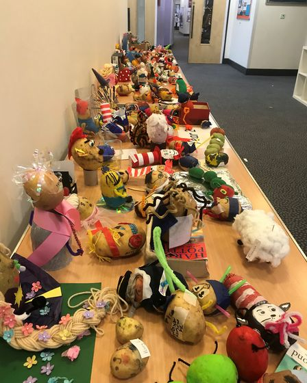 Queen's Hill Primary School decorated potatoes to look like characters for World Book day 2019. Phot