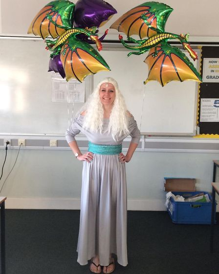 Miss Hurren at Sprowston Community Academy dressed as Daenerys Targaryen from Game of Thrones on Wor