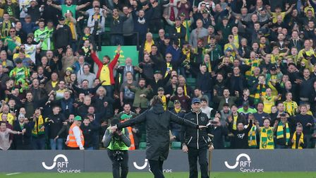 Daniel Farke orchestrating the celebrations has become part of the fun at Norwich City this season P