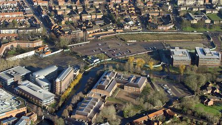 Aerial view of Barrack Street and Jarrold print, Norwich. Date: 3 Feb 2019. Picture: Mike Page