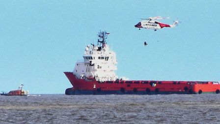 Lowestoft lifeboat and the Coastguard rescue helicopter assist the man with a medical evacuation fro