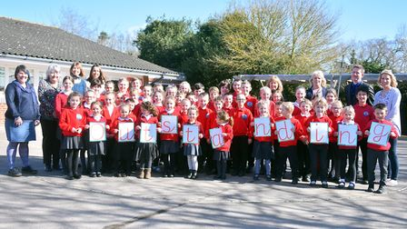 Neatishead Primary School celebrates achieving outstanding ranking from Ofsted. PICTURE: Jamie Honey