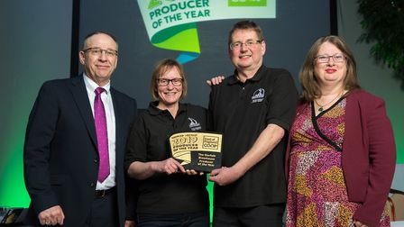 David and Rachel of The Norfolk Brewhouse with Roger Grosvenor and Sally Chicken of the East of Engl
