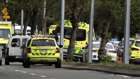 Ambulances parked outside a mosque in central Christchurch, New Zealand, after a shooting. Photo: AP