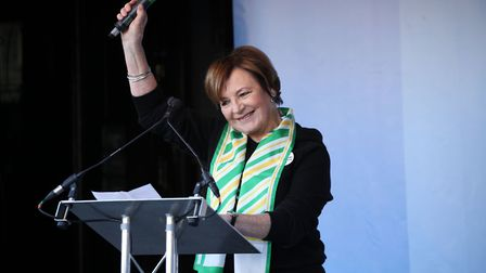 Delia Smith addresses Anti-Brexit campaigners at a rally after the People's Vote March for the Futur