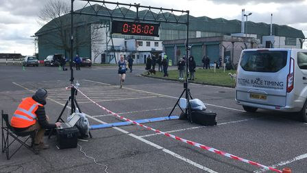 Men's winner Callum Simpson on the home straight at the Mad March Hare 10K. Picture: Mark Armstrong