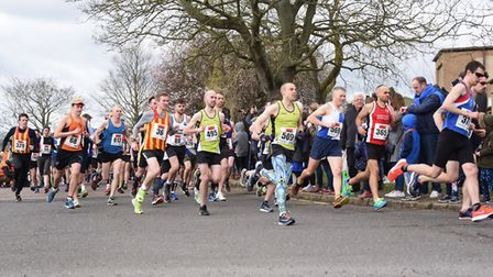 The start of the Mad March Hare 10k run at Scottow. Picture: DENISE BRADLEY