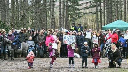Campaigners protest against a proposed sand quarry which will be on natural beaty spot Shouldham War