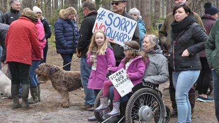 Campaigners protest against a silica sand quarry in Shouldham Warren. PHOTO: CATSS