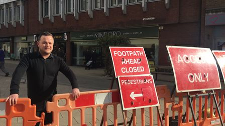 """Shaun Rignall says the Westlegate closure in Norwich has been """"crippling"""" for small businesses. Pict"""