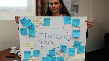 Katy Fullilove with some of the villagers' thoughts Picture: Chris Bishop