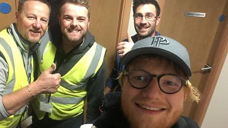 SaxonAir workers John Dewing, Jordan Smith and James Tortice welcomed a surprise visitor to Norwich