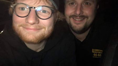 Ed Sheeran and Courtesy Taxi driver Ricky Little. Pic: Courtesy Taxis.