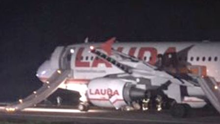 The passenger plane at Stansted Airport after an aborted takeoff. Pic: Thomas Steer/PA Wire.