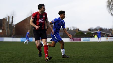 Lowestoft Town's Rio Douglas, right, and Kettering's Craig Stanley Picture: Shirley D Whitlow
