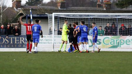 Referee Abi Marriott sends off Kettering Town player Aaron O'Connor Picture: Shirley D Whitlow