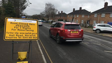 Hall Road in Norwich will be shut for resurfacing work. Pic: Dan Grimmer
