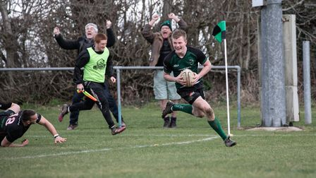 Delight at Scottow as Joe Milligan crosses the line for North Walsham against high-flying Rochford H