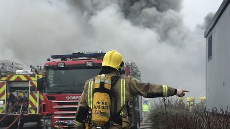 Firefighters are tackling a major blaze at the Rackheath Industrial Estate. Picture: Neil Didsbury
