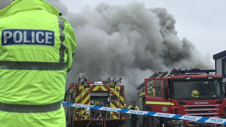Firefighters at the blaze at Rackheath Industrial Estate. Picture: Neil Didsbury