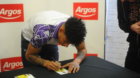 Onel Hernández at Norwich Riverside Argos signing for Norwich City fans. Picture: Tony Thrussell