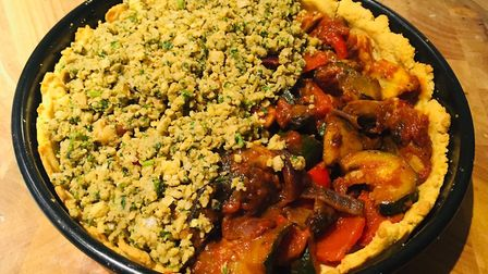 Gluten-free harissa-roasted halloumi, roasted vegetable and falafel pie Picture: Archant
