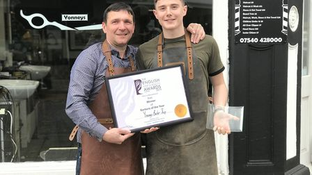 Gezim Murizi (left) and Curtis Statt have won Men's Stylist of the Year for their work in Lowestoft