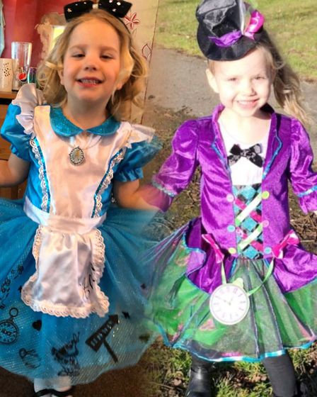 Cousins dressed as Alice and the Mad Hatter from Alice in Wonderland on World Book Day. Photo: Kirst