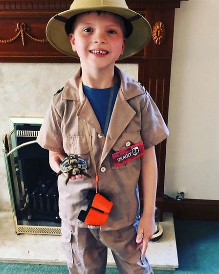 Mason Catling, aged 6, as Steve Backshall from the Deadly 60 books on World Book Day 2019. Photo: Ma