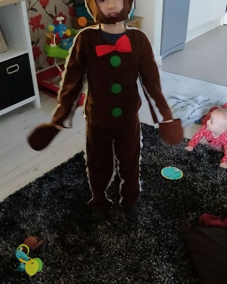 Jayden, 5 years old, dressed as the Gingerbread Man on World Book Day 2019. Photo: Coral Gibbs