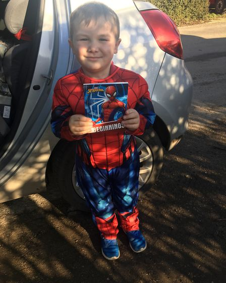 Oliver Linford-Hazell as Spider-Man on World Book Day 2019. Photo: Zoe Myhill
