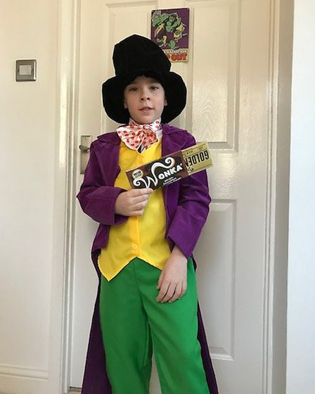 Dressed as Willy Wonka on World Book Day 2019. Photo: Christine Wright