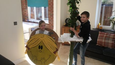 Charlie, aged 9, and Evie, aged 6, from Ludham Primary School dressed as Jack and the Beanstalk and