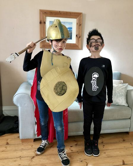 Jonah as a warrior from The Wizards of Once and Rupie as a crayon from The Day the Crayons Quit. Pho