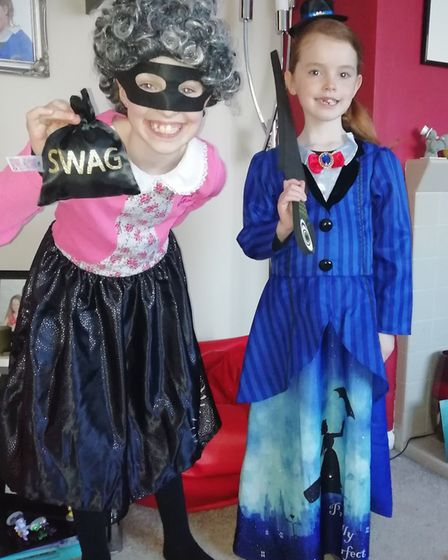 Millie and Olivia Seely, aged 9 and 7, as Gangtsa Granny and Mary Poppins. Photo: Louise Seely