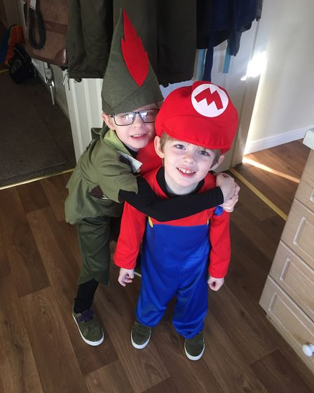 Stanley as Peter Pan and Archie as Mario on World Book Day 2019. Photo: Jacqui Brown