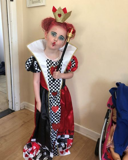 Kaitlyn Summer Hope Richards, aged 5, dressed as the Queen of Hearts on World Book Day 2019. Photo: