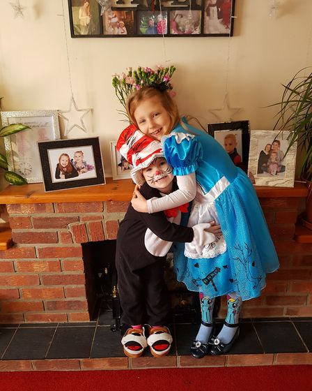Dressed as Alice in Wonderland and Cat in the Hat. Photo: Agita Barauska