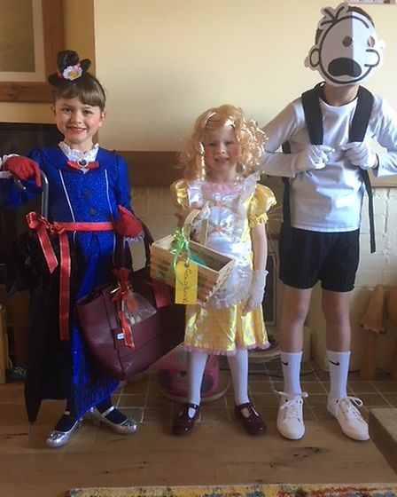 Jack, Polly and Annabelle from Corton Primary School in Lowestoft dressed as Diary of a Whimpy kid,
