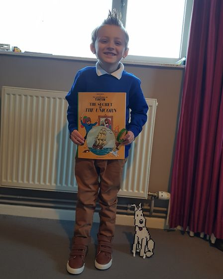 James, aged 5, dressed as Tintin on World Book Day 2019. Photo: Louise Hewitt