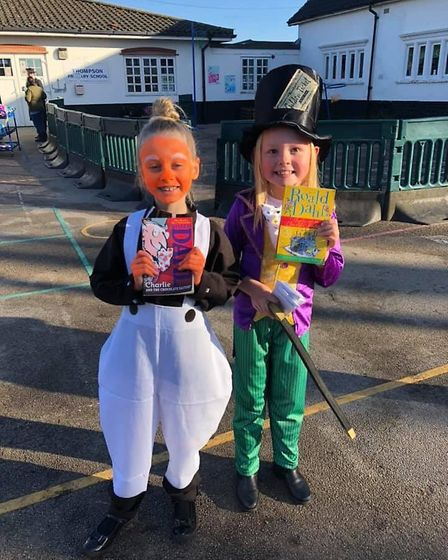 Poppy as Willy Wonka and her best friend Emily as one of the Oompa Loompas. Photo: Rebecca Nutbourne