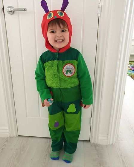 Dressed as the Hungry Little Caterpillar for World Book Day 2019. Photo: Carrie Parker