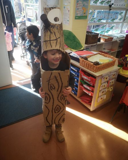 Lucas, aged 5 at Angel Road Infants School as the Stick Man. Photo: Amy Moore