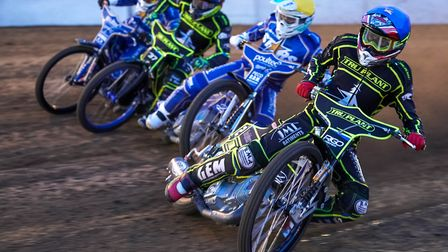 Opening night action from Ipswich, from the inside, David Bellego, Erik Riss, Chris Harris and Rober