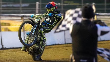 A familiar sight as Ipswich's Cameron Heeps takes the chequered flag Picture: Steve Waller